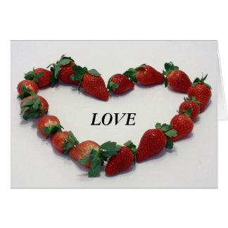 Corazón de la fresa tarjeta de felicitación