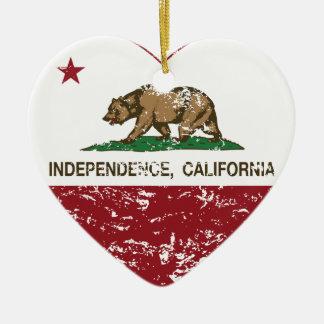 corazón de la independencia de la bandera de adorno de cerámica en forma de corazón