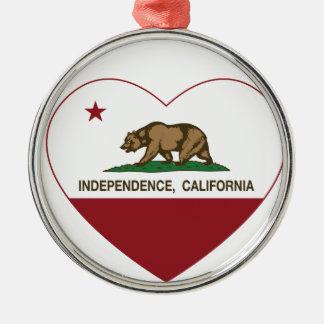corazón de la independencia de la bandera de adorno redondo plateado