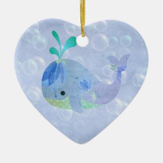 Corazón de la invitación del nacimiento del bebé adorno navideño de cerámica en forma de corazón