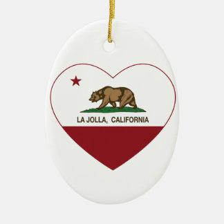 corazón de La Jolla de la bandera de California Ornamento Para Arbol De Navidad