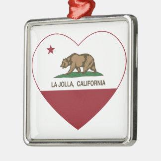 corazón de La Jolla de la bandera de California Ornamentos De Navidad