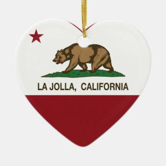 corazón de La Jolla de la bandera de California Adorno Para Reyes