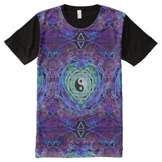 Corazón de la mandala de Yin Yang Camisetas Con Estampado Integral