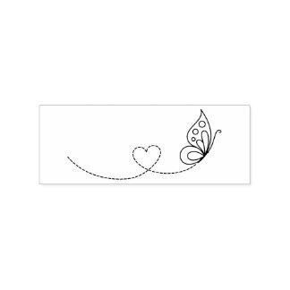 Corazón de la mariposa - coloréeme sello de caucho