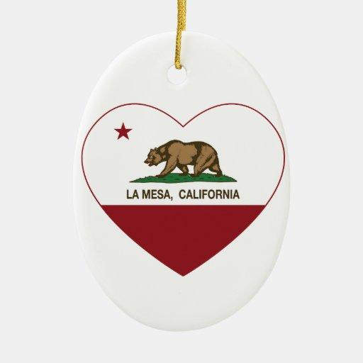 corazón de La Mesa de la bandera de California Ornatos
