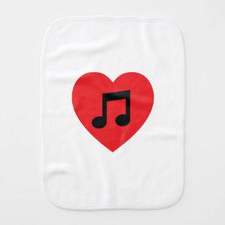 Corazón de la nota de la música paño para bebés