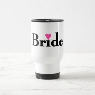 Corazón de la novia taza de viaje de acero inoxidable