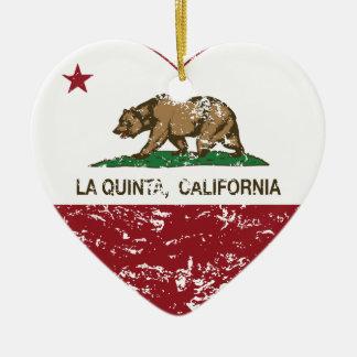 corazón de La Quinta de la bandera de California a Ornamento Para Arbol De Navidad