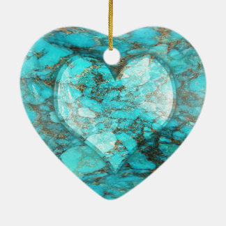 Corazón de la roca de la turquesa adorno navideño de cerámica en forma de corazón