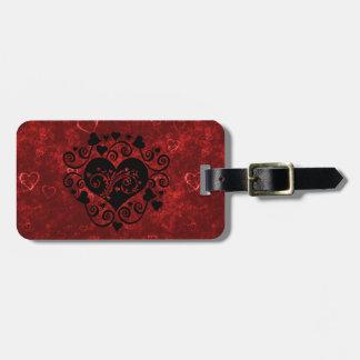 Corazón de la silueta etiqueta para maletas
