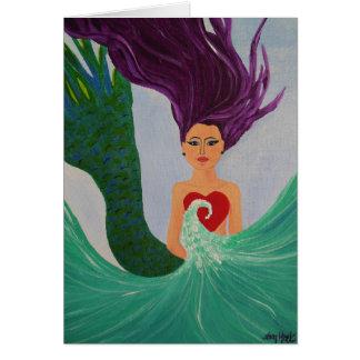 Corazón de la sirena tarjeta de felicitación