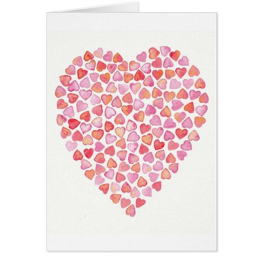 Corazón de la tarjeta de felicitación de los