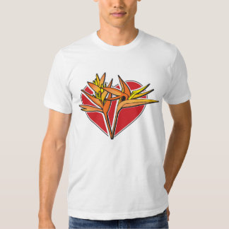 Corazón de las aves del paraíso camiseta