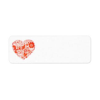 Corazón de las etiquetas del remite del país