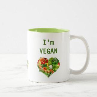Corazón de las frutas y verduras - vegano taza de dos tonos
