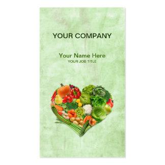 Corazón de las legumbres de frutas - fondo de la tarjetas de visita