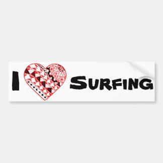 Corazón de LineA I que practica surf (polinesio) Pegatina Para Coche