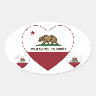 corazón de Los Alamitos de la bandera de Californi Colcomanias De Ovaladas