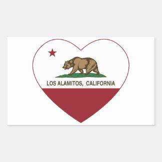 corazón de Los Alamitos de la bandera de Rectangular Pegatina