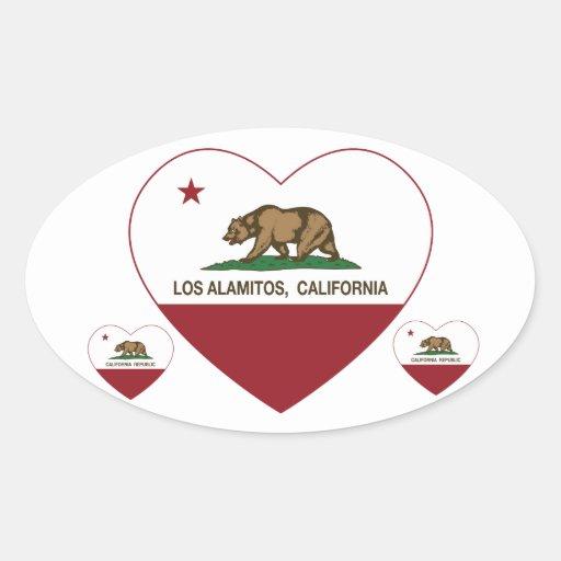 corazón de Los Alamitos de la bandera de Colcomanias De Oval Personalizadas