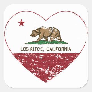 corazón de los altos del los de la bandera de Cali Calcomania Cuadradas Personalizadas