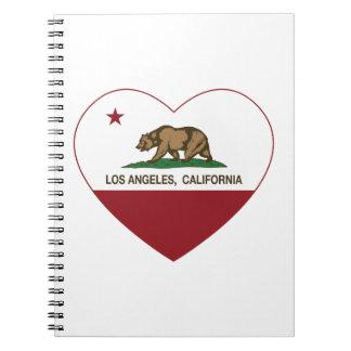 corazón de Los Ángeles de la bandera de California Libretas