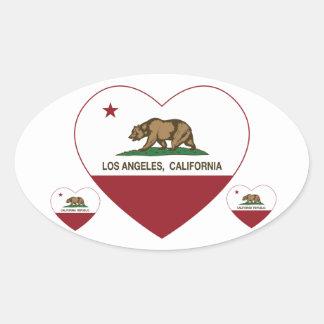 corazón de Los Ángeles de la bandera de California Pegatina De Ovaladas