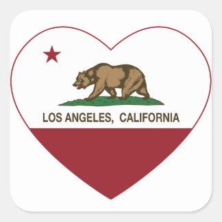 corazón de Los Ángeles de la bandera de California Calcomanías Cuadradass