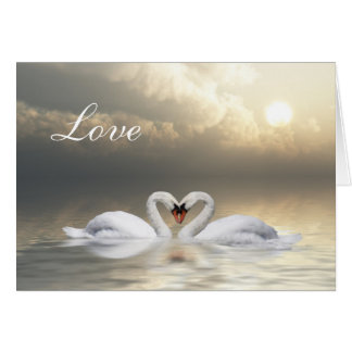 Corazón de los cisnes tarjeta de felicitación