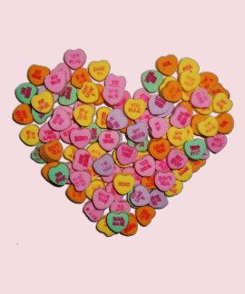 Corazón de los corazones del caramelo de la camisetas