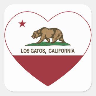 corazón de los gatos del los de la bandera de calcomanías cuadradas personalizadas