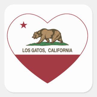 corazón de los gatos del los de la bandera de calcomanías cuadradass personalizadas