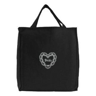 Corazón de marfil - novia bolsa de lienzo