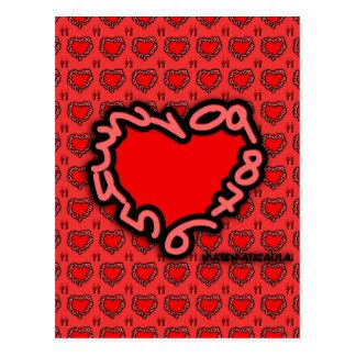 Corazón de números para enamorados postal