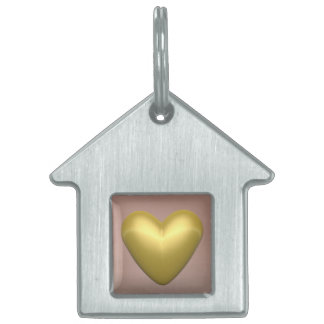 Corazón de oro - 3D rinden Placa Para Mascotas
