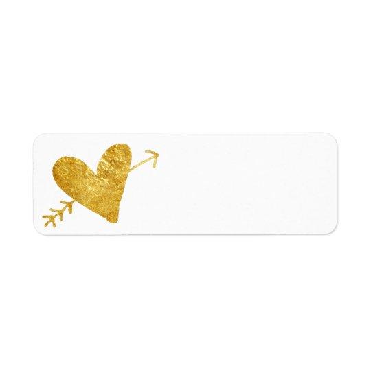corazón de oro con la flecha etiqueta de remitente