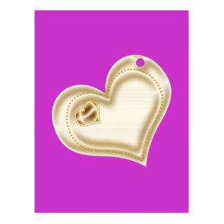 Corazón de oro del libro de recuerdos postal