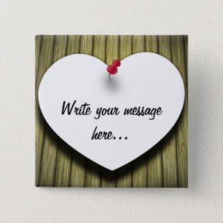 Corazón de papel de la nota del mensaje - botón
