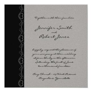 Corazón de plata y negro en mi boda de la manga invitación 13,3 cm x 13,3cm