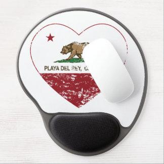 corazón de Playa del Rey de la bandera de Californ Alfombrillas De Ratón Con Gel