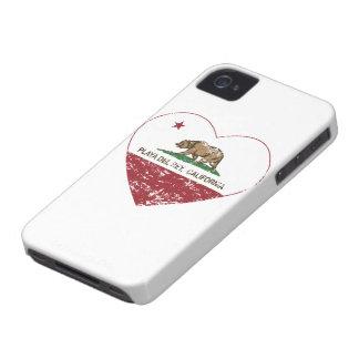 corazón de Playa del Rey de la bandera de Californ iPhone 4 Funda