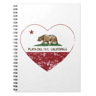 corazón de Playa del Rey de la bandera de Californ Cuadernos