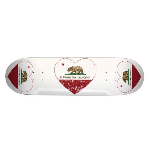 corazón de Playa del Rey de la bandera de Californ Monopatín Personalizado