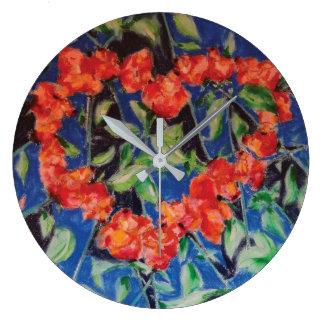 Corazón de rosas en la pared reloj redondo grande