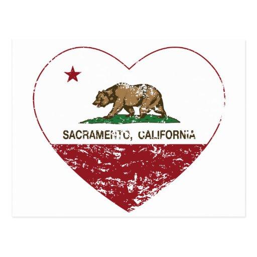 corazón de Sacramento de la bandera de California  Tarjetas Postales