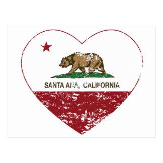 corazón de Santa Ana de la bandera de California a Tarjetas Postales