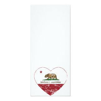 corazón de Santa Ana de la bandera de California Invitación 10,1 X 23,5 Cm