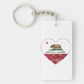 corazón de Santa Cruz de la bandera de California Llaveros