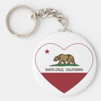 corazón de Santa Cruz de la bandera de California Llavero